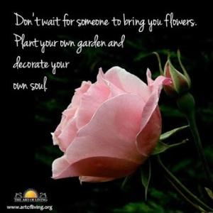 No esperes a que te traiga flores. Plantá tus propio jardín y decorá tu propia alma.