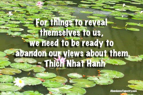 Para que las cosas se revelen a su mismas a nosotros, tenemos que estar listos para abandoner nuestra vision sobre ellos.